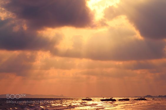 Popular on 500px : Dramatic sunset over the sea in Rayong by salawin