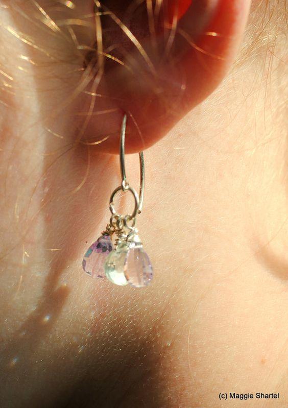 MultiAmethyst Dangle Earrings in Sterling Silver by maggiesjewelry