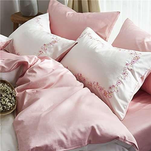 Winlife Vintage Floral Embroidery Bedding Set 4pcs Girls Duvet Cover Set Flat Sheet And Pillowcases Girls Duvet Covers Duvet Cover Sets Bed