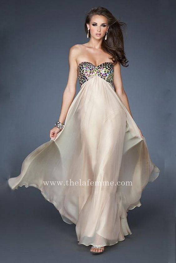 Cheap La Femme 18842 Nude Strapless Low Back Prom Dress  La Femme ...