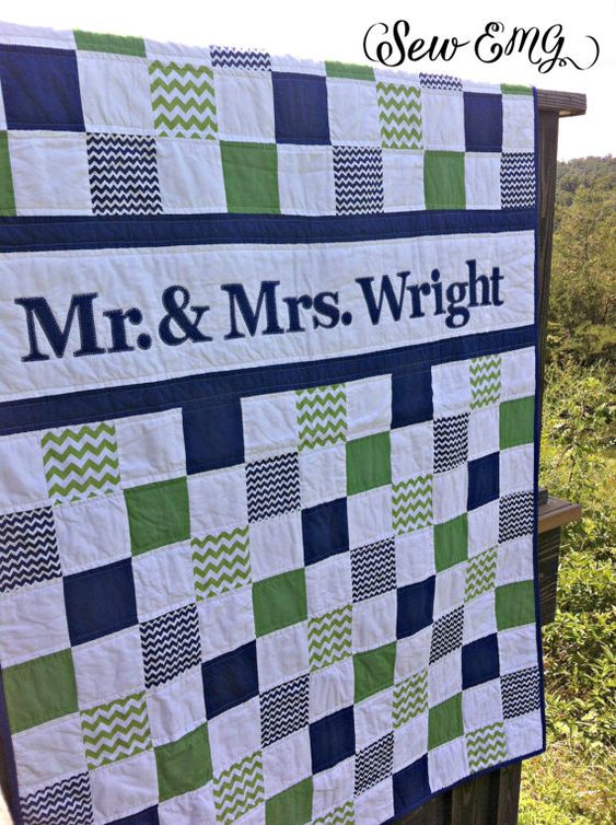 Wedding Quilt Patchwork Monogram Name Quilt- Custom Made- Perfect Wedding or Houswarming Gift
