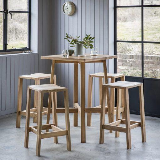Oak High Table Bar Stools Set 2 Bar Table Bar Height Kitchen Table Pub Table Sets