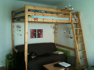 Ikea stora double loft bed wooden pine rare great for for Space saver beds ikea