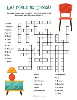 FRENCH FURNITURE VOCABULARY - Crossword puzzle with 24 French furniture vocabulary words.  The clue is given in English and puzzlers must fill in the grid with the French words.  Part of a three puzzle bundle for French furniture.