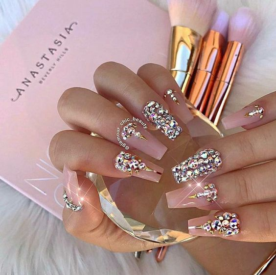 Blush Nude Nail Art With Crystals