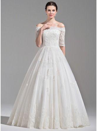 Duchesse-Linie Off-the-Schulter Bodenlang Tüll Brautkleid mit Rüschen Perlen verziert Pailletten
