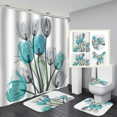 Details About Tulip Shower Curtain Bathroom Anti Slip Carpet Rug