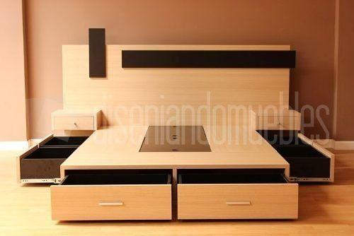 Cama de dos plazas con 6 cajones y baulera la mejor calidad for Futon cama dos plazas