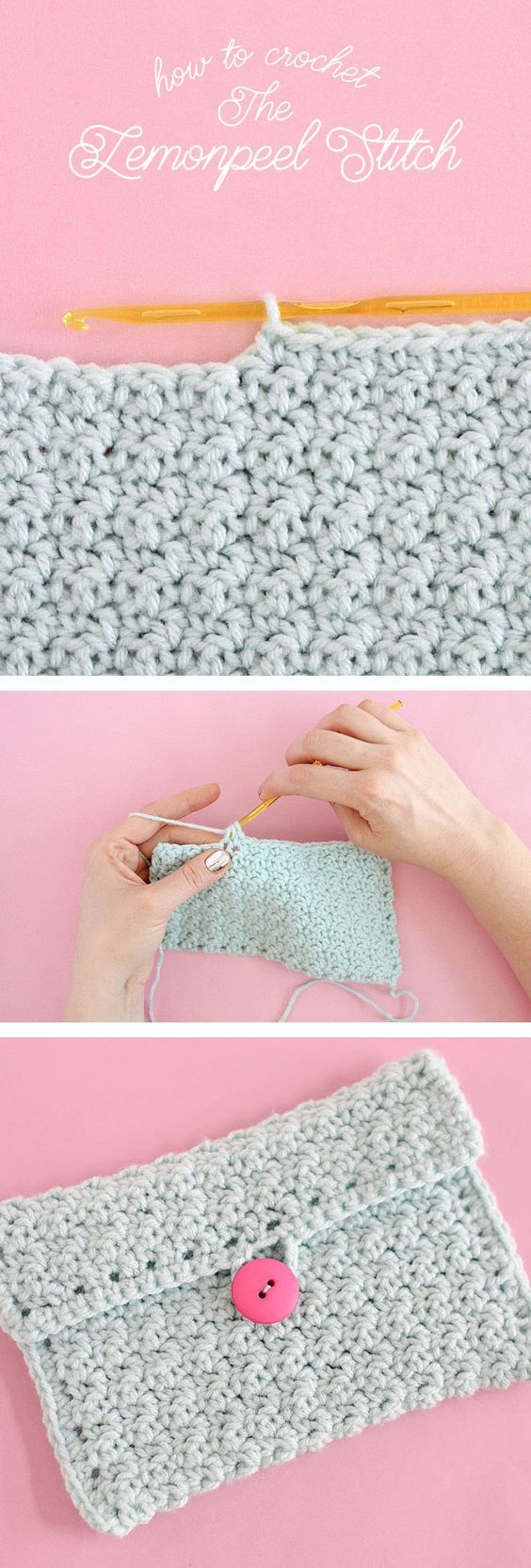 How to Crochet Lemon Peel Stitch - step by step tutorial for this simple stitch that gives lots of nice texture.: