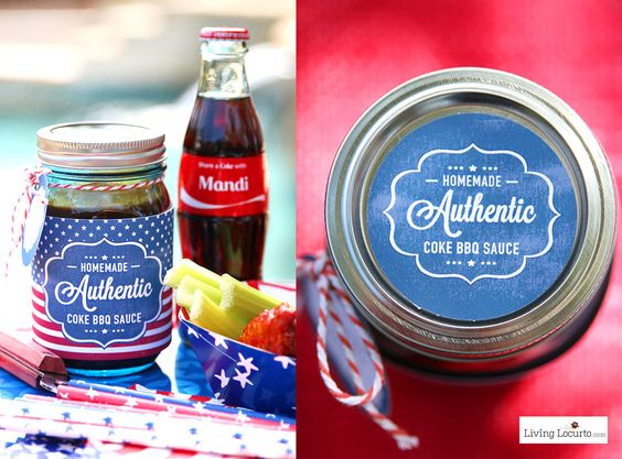 Delicious Coca-Cola Barbecue Sauce with Free Printable Labels. A cute and simple hostess gift idea with Coke for a party! #ShareaCoke #ShareaCokeSweepstakes