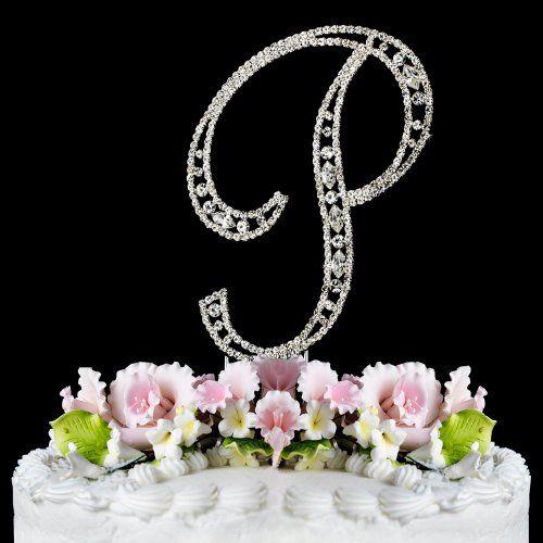 Vintage ~ Swarovski Crystal Wedding Cake Topper ~ Letter P..... Cute!!