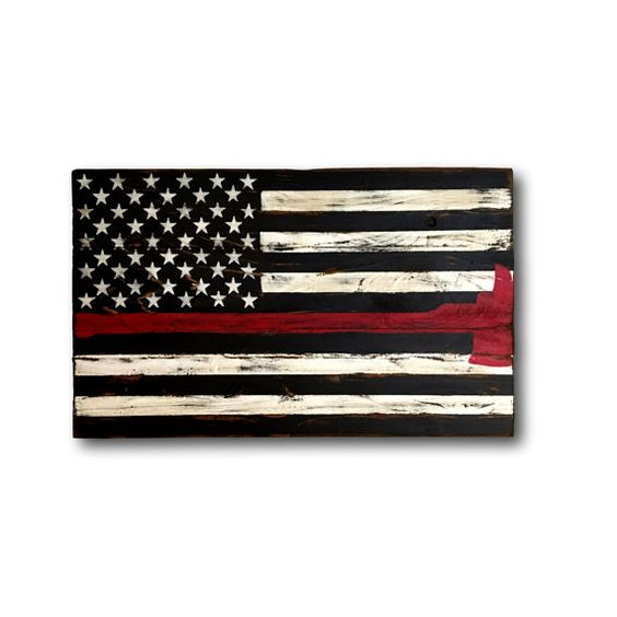 Thin Red Line Flag/ Firefighter Axe Sign/ Firefighter Gift/ Wood Flag