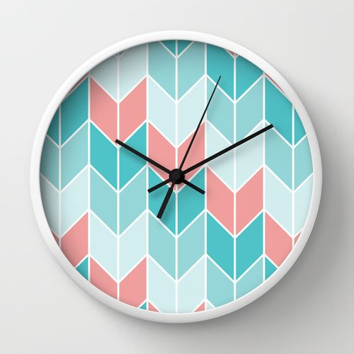 Mint Coral Chevrons Pattern Wall Clock