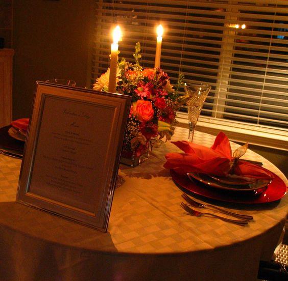 Cozy Valentine dinner at home.