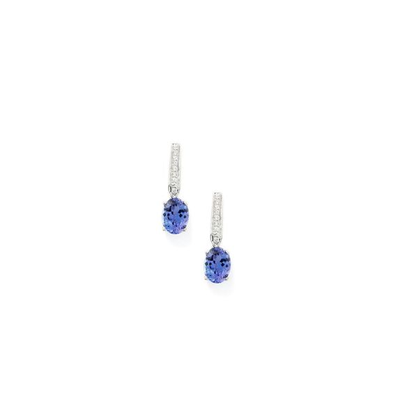 A charming pair of Earrings from the Tomas Rae collection, made of 14k White Gold featuring 2.77cts of amazing AAA clarity Tanzanite with dazzling Diamonds.   	DQSV61