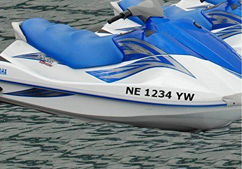 Stickerloaf brand custom jet ski boat registration number decal set boat numbers boating jetski luxury yacht kayak canoe airboat skiff john boat se