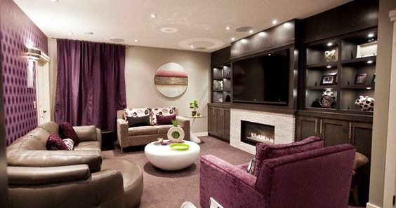 Smart Renovating A Basement with Creativity: Sexy Purple Themed Renovating A Basement Living Room Interior Furnished With Light Brown Sofa A...