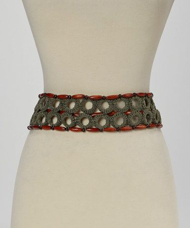 Another great find on #zulily! Olive Circular Macrame Wood Bead Belt #zulilyfinds