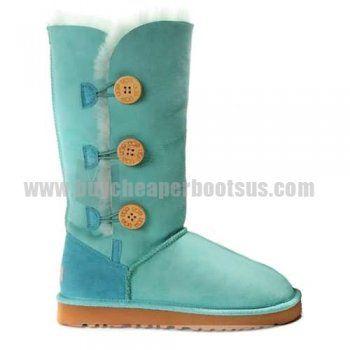 Fashionable Bailey Button Triplet 1873 Ugg Boots - Aqua Blue Shine Up Your Life!