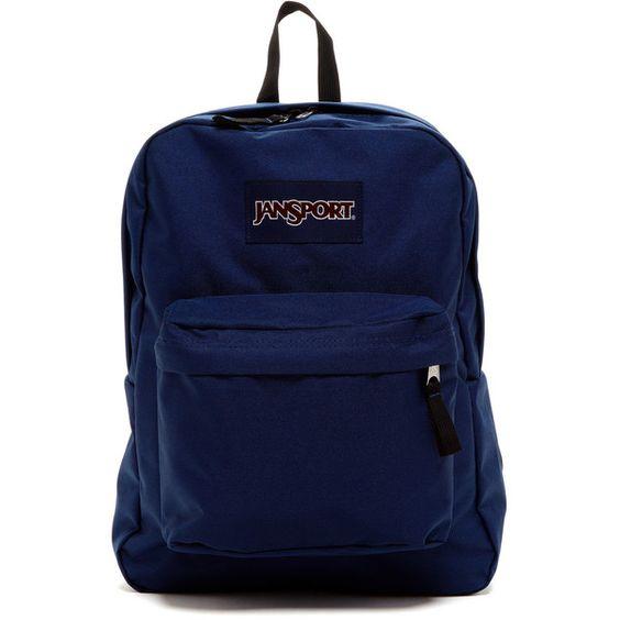 JANSPORT Superbreak Backpack ($36) ❤ liked on Polyvore featuring bags, backpacks, navy, strap backpack, backpacks bags, jansport backpack, knapsack bags and navy blue bag
