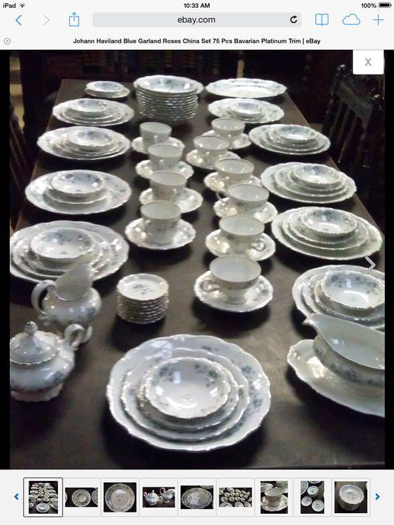 Johann Haviland blue flower china set.