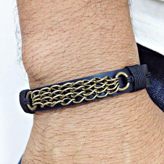 Pulseira masculina couro detalhe corrente mens bracelets moda style cocar brasil