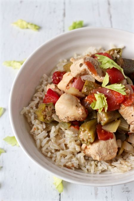 Cajun Chicken Stew with Okra and Tomatoes | An easy New Orleans-inspired Cajun chicken dish you can make at home. Serve over Mahatma White or Brown Rice for a delicious dinner meal.