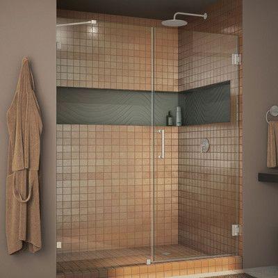 """DreamLine Unidoor Lux 53"""" x 72"""" Hinged Frameless Shower Door Trim Finish: Brushed Nickel"""