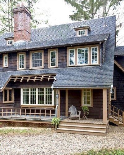 dark siding white windows beige trim grey roof stone foundation house pinterest