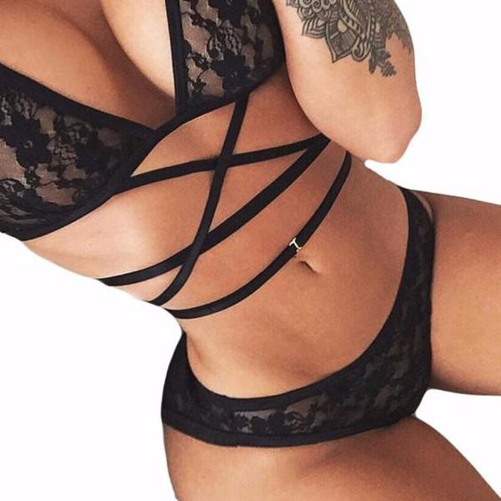 Bandage Lace Lingerie Set | Buy Black Lingerie Set | ZORKET.COM – zorket