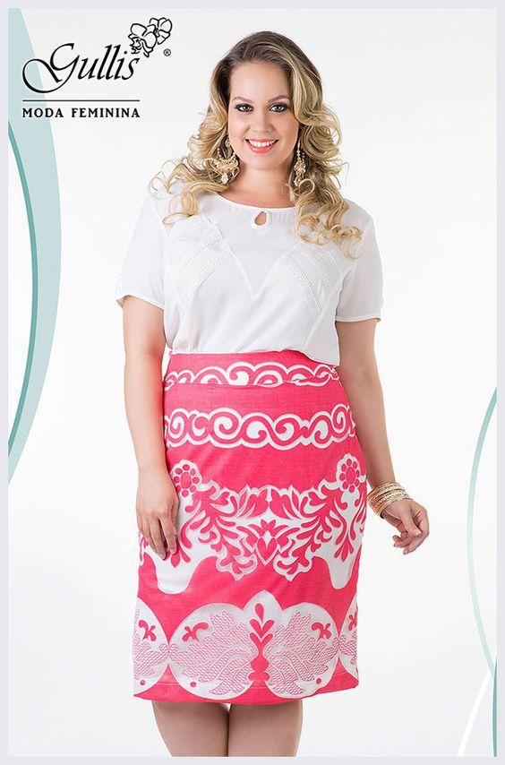 Conjunto Plus Size camisa em crepe com guipure e saia em renda - Kauly: http://gullislingerie.com.br/alto-verao-2016-conjunto-plus-size-camisa-crepe-guipure-saia-renda-kauly