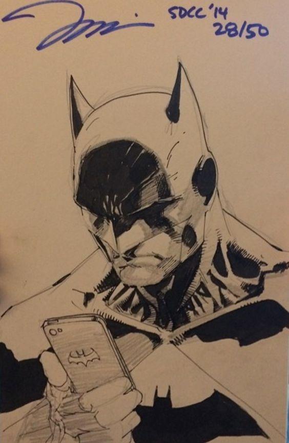 He has a Bat Mobile! :-D Batman by Jim Lee *