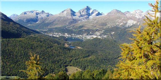 Switzerland.  Blick über den Stazersee zum St.Moritzersee im Oberengadin Kt.Graubünden