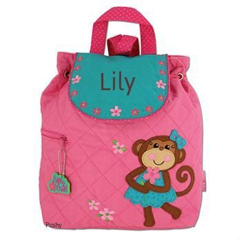 Personalized Backpack or Baby Diaper Bag Stephen Joseph Quilted Monkey Silly Girl