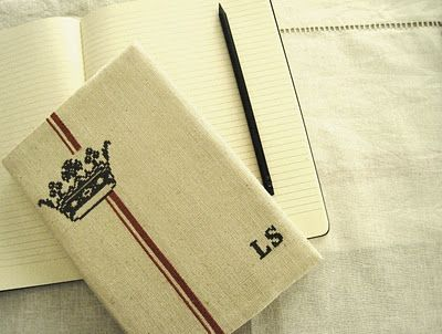 linen bookcover pattern embroidered with a crown