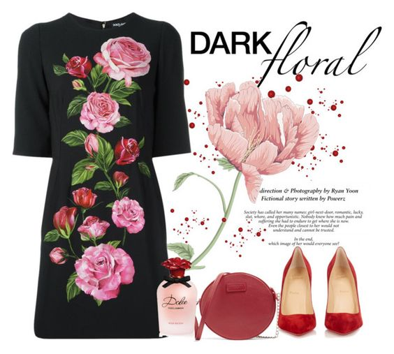 """""""Dark Floral"""" by conch-lady ❤ liked on Polyvore featuring Dolce&Gabbana, Christian Louboutin, darkfloral and darkfloraldress"""