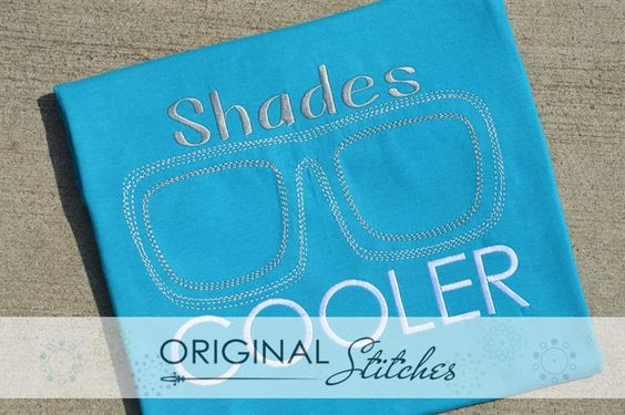 Sunglasses - Quick Stitch, Machine Embroidery and Applique Designs Downloads   Original Stitches - Embroidery and Applique Design Store