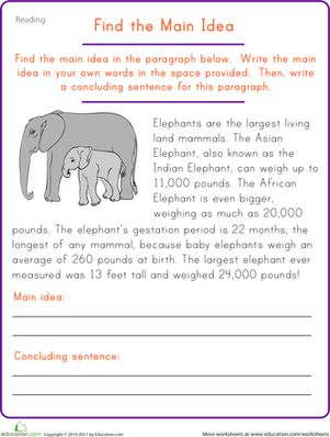 Worksheets Main Idea Worksheets 2nd Grade Free main idea worksheets and comprehension on pinterest fifth grade find the elephant