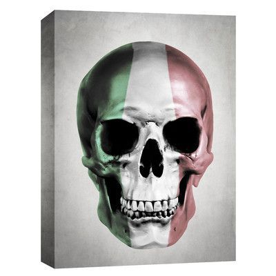 "Cortesi Home ""Italian Skull-Grey"" by Nicklas Gustafsson Graphic Art on Canvas Size:"