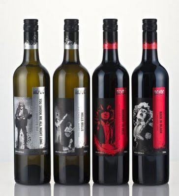 A vinícola australiana Warburn Estate lançou uma coleção de vinhos do AC/DC. São quatro ao todo:        AC/DC Back In Black Shiraz (2010 750mL tinto seco)      AC/DC You Shook Me All Night Long Moscato (2011 750mL branco suave)|      AC/DC Highway To Hell Cabernet Sauvignon (2008 750mML tinto seco)      AC/DC Hells Bells Sauvignon Blanc (2010 750mL branco seco)