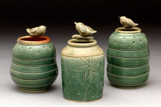 sarah mccarthy pottery (i love the cute bird additions!)