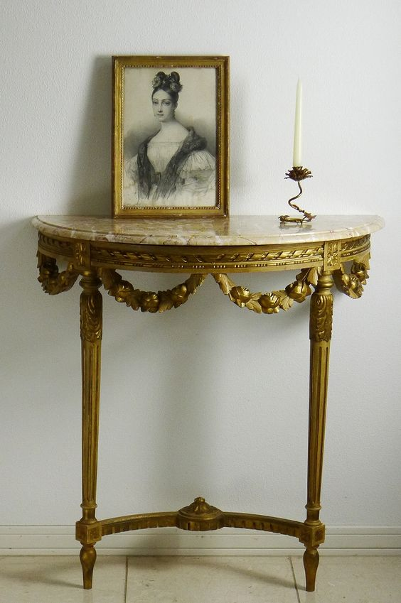 French Antique Marble Top Console Table
