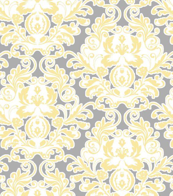 Keepsake Calico™ Cotton Fabric-Gray Yellow Damask