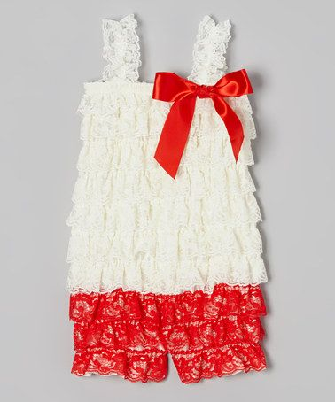 This Ivory & Red Ruffle Romper - Infant is perfect! #zulilyfinds