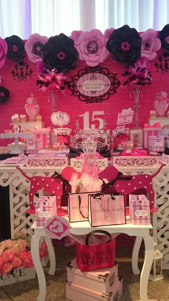 Victoria Secret S Birthday Party Ideas Photo 9 Of 11 Birthday Party Theme Decorations Pink Birthday Party Decorations Girls Birthday Party Decorations