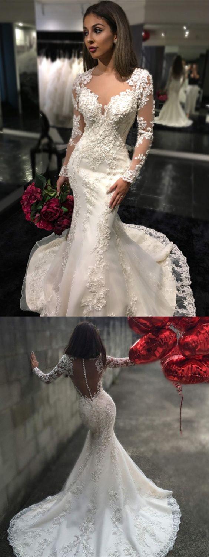 Mermaid Long Sleeves Illusion Back Glamorous Lace Wedding Dress Long Sleeve Mermaid Wedding Dress Wedding Dresses Mermaid Wedding Dress [ 1500 x 564 Pixel ]
