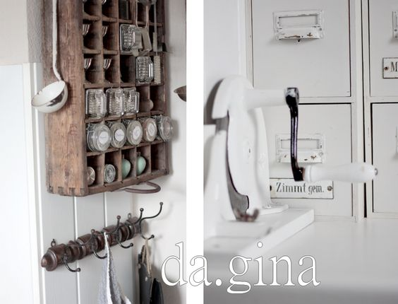 Kitchen Spice Rack. Grey, Black, Chippy, Shabby Chic, Whitewashed, Cottage, French Country, Rustic, Swedish decor Idea. ***Pinned by oldattic ***.