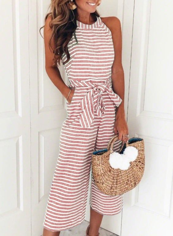 Fashion Striped Off The Shoulder Wide Leg Jumpsuits With Bow