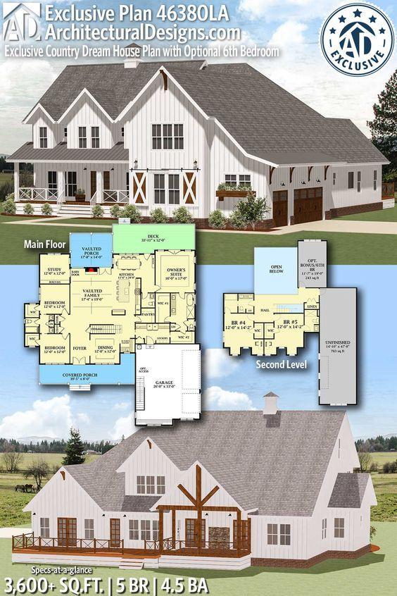 Plan 46380la Exclusive Country Dream House Plan With Optional 6th Bedroom Dream House Plans House Plans Farmhouse Plans