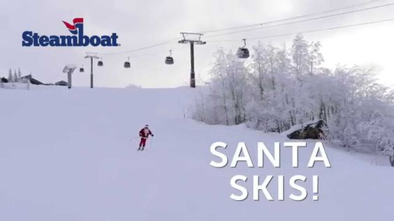 Santa takes a quick break from delivering gifts to make some turns at Steamboat Ski Area in Steamboat Springs, Colorado.